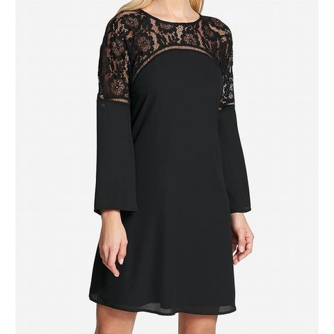 Kensie Black Womens Size 8 Floral Lace Bell Sleeve Shift Dress