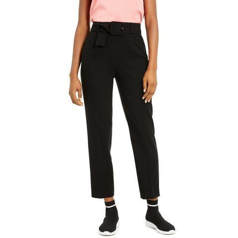 Bar III Womens Pants Black Size 16 Dress Belted High-Waist Stretch