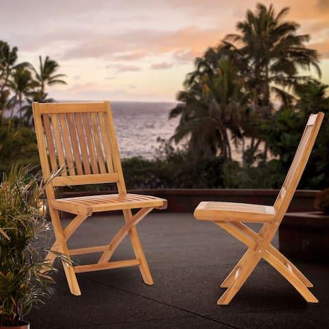 Chic Teak Santa Barbara Teak Wood Outdoor Patio Folding Side Chair (set of 2)