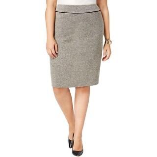 Kasper Womens Plus Pencil Skirt Tweed Work