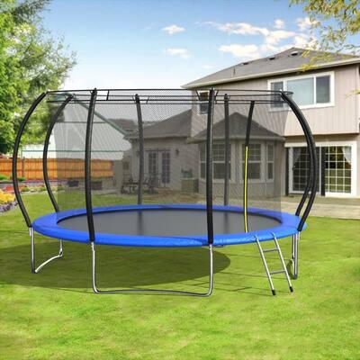 Round Backyard Trampoline with Safety Enclosure