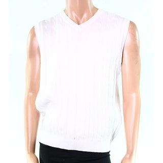 Club Room NEW White Mens Size Medium M Vest Cable-Knit V-Neck Sweater
