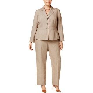 Le Suit Womens Plus Pant Suit Basketweave Long Sleeves