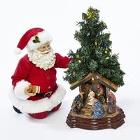 """Pack of 2 Battery-Operated Musical Santa with Nativity Set Christmas Table Top Figurine 10"""" - green"""