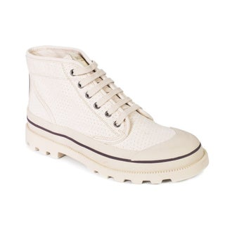 Valentino Mens Beige Canvas Perforated Desert Boot