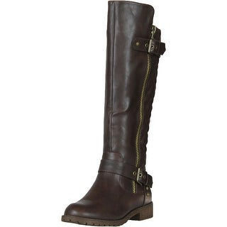 Nature Breeze Vivienne-01 Studded Quilted Leatherette Buckle Round Toe Motorcycle Boots