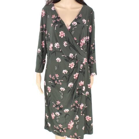 Lauren by Ralph Lauren Womens Dress Green Size 2 Sheath Floral Print