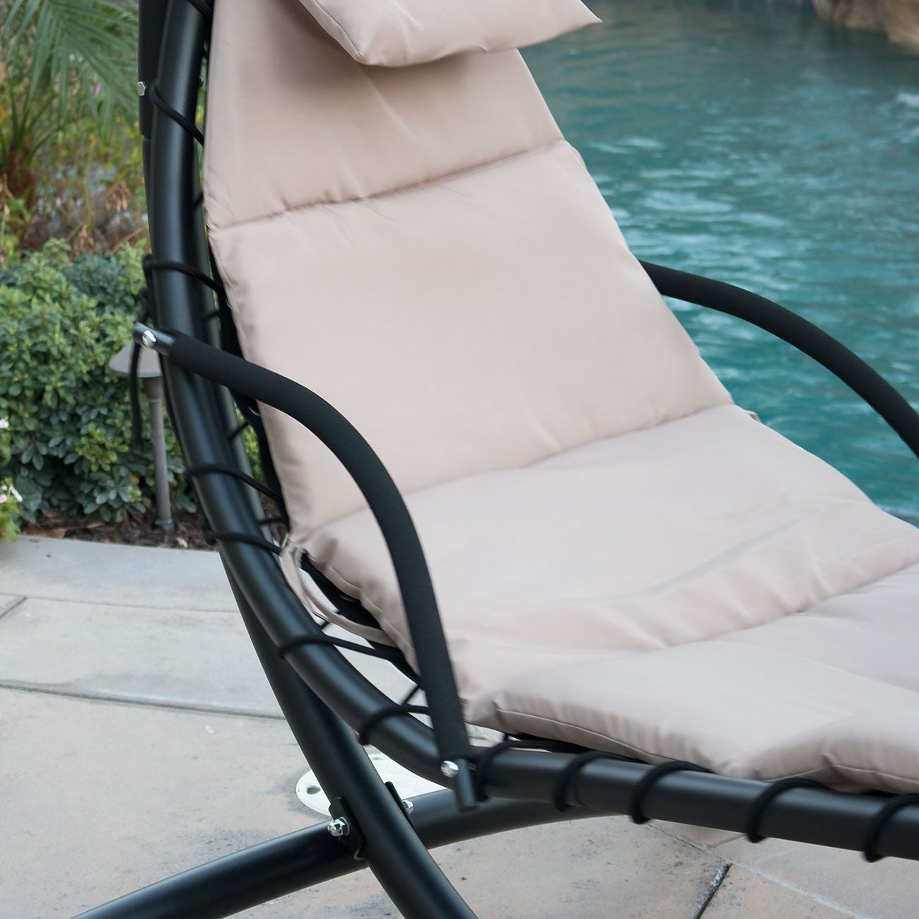 Belleze Hanging Chaise Beige Lounger Chair Arc Stand Canopy Air Porch Swing Hammock Chair Overstock 16148244