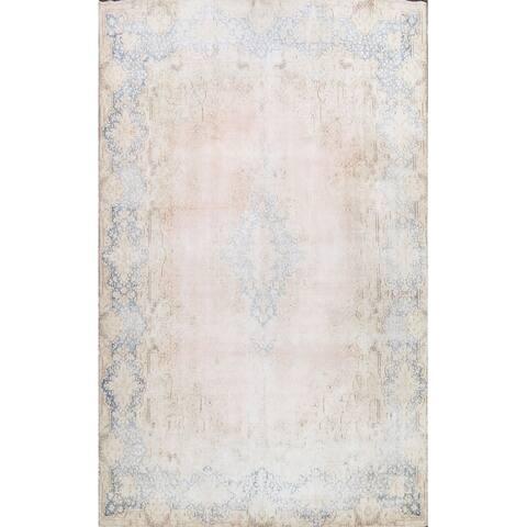 "Muted Distressed Kerman Persian Area Rug Wool Handmade Carpet - 9'9"" x 12'8"""