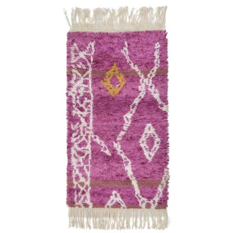 """One of a Kind Hand-Knotted Shag 3' x 5' Geometric Wool Pink Rug - 2'9""""x5'3"""""""