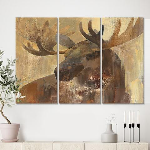 Designart 'Into the Wild Gold Moose ' Farmhouse Gallery-wrapped Canvas