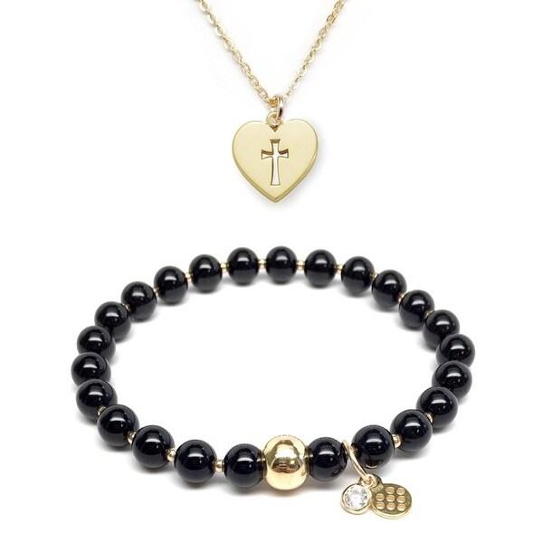 "Black Onyx 7"" Bracelet & Cross Heart Gold Charm Necklace Set"