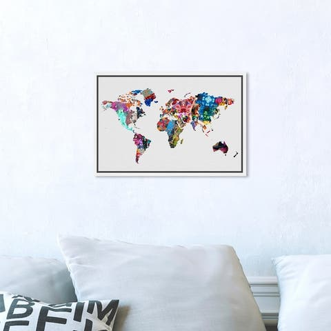 Oliver Gal 'Mapamundi' Maps and Flags Wall Art Framed Canvas Print World Maps - White, Blue
