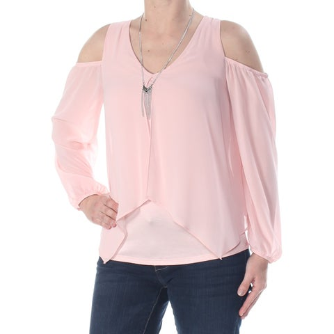 BCX Womens Pink Sheer Cold Shoulder Long Sleeve Blouse Wear To Work Top Juniors Size: XS