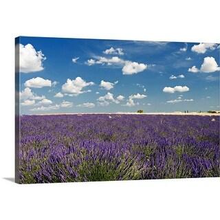 """Lavender field against blue sky."" Canvas Wall Art"