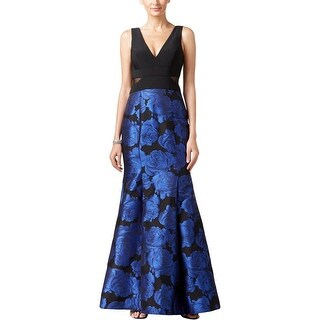 Xscape Womens Petites Evening Dress Floral Print Illusion - 10P