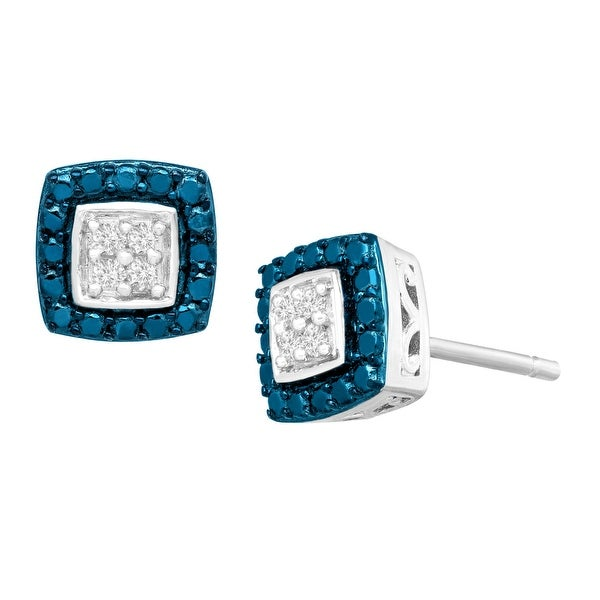 1/10 ct Blue & White Diamond Stud Earrings in Sterling Silver-Plated Brass