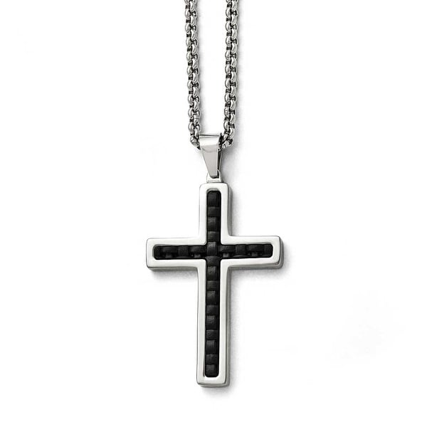 Chisel Stainless Steel Polished Black Genuine Leather Inlay Cross Necklace - 20 in