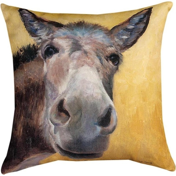 """Set of 2 Brown and Yellow Rescue Me Themed Decorative Throw Pillow 18"""""""