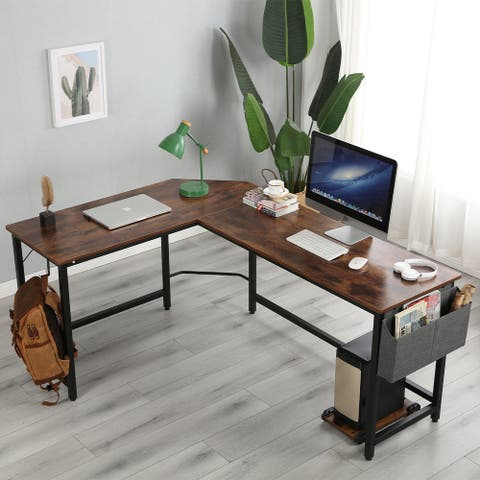 Merax L-Shaped Computer Desk with Storage Bag