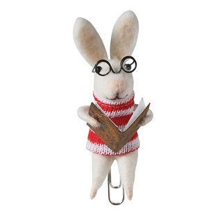 Felted Wool Animal Bookmarks - Clip On - Rabbit
