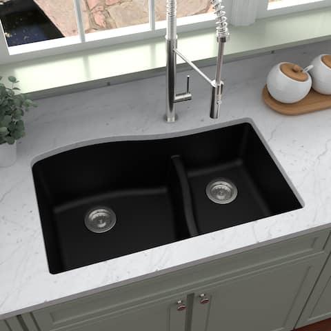 Karran Undermount Quartz Double-bowl Kitchen Sink