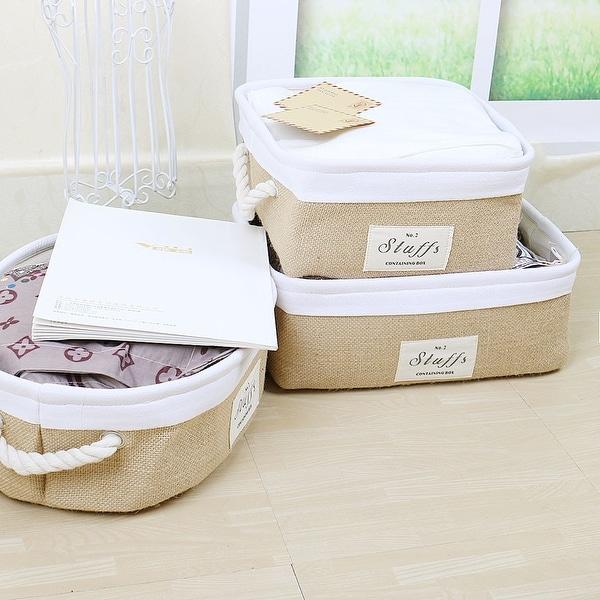 Collapsible Storage Basket Organizer Jute Storage Bin For Organizing