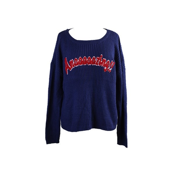 f334f3f0d Shop Hooked Up By Iot Juniors Blue Amazing Pullover Sweater S - Free ...