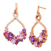 2 7/8 ct Natural Amethyst & Pink Tourmaline Drop Earrings in 18K Rose Gold-Plated Sterling Silver - Purple