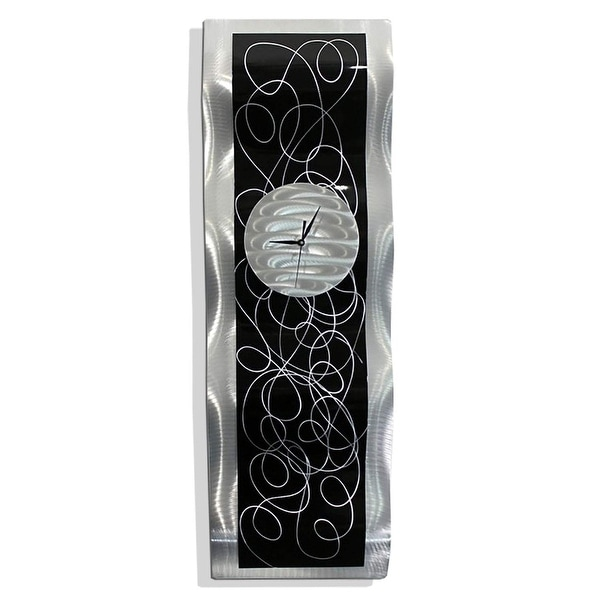 """Statements2000 Abstract Metal Wall Clock Modern Functional Art by Jon Allen - Waves of Time - 32"""" x 10"""""""