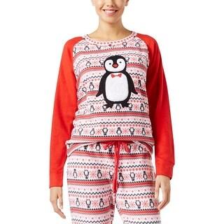Jenni Womens Pajama Top Fleece Appliqued