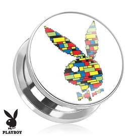 Playboy Bunny Logo Color Block Print Screw Fit Plug 316L Surgical Steel (Sold Individually)