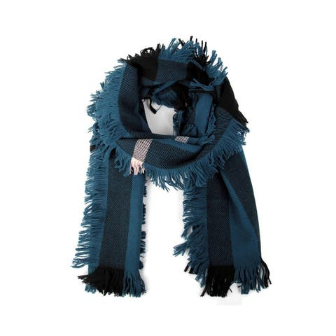 Burberry Women's Blue / Black Wool Fashion Scarf with Fringe and Pink Stripe 40609901 - One Size