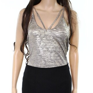 Free Press NEW Gold Womens Size Small S Metallic Bodysuit Knit Top