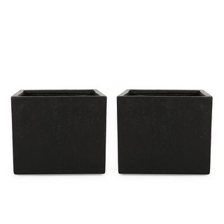 Link to Ella Outdoor Modern Cast Stone Square Planters (Set of 2) by Christopher Knight Home Similar Items in Planters, Hangers & Stands