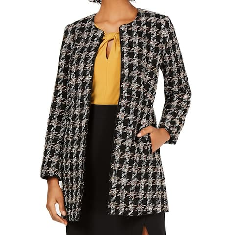 Nine West Women's Jacket Black Size 2 Tweed Topper Full-Zip Textured