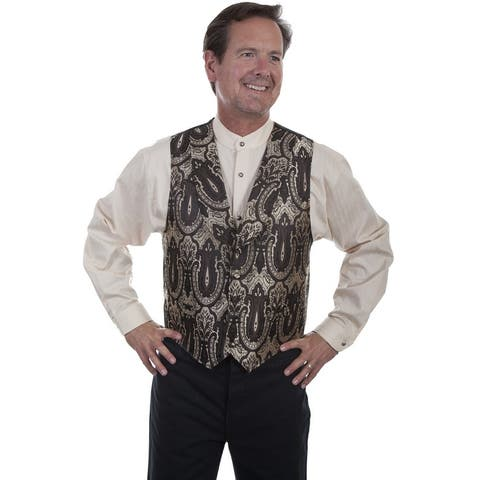 Scully Western Vest Mens Shawl Lapel Button Polyester Brown