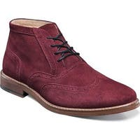 Stacy Adams Men's Arley Wing-Tip Lace-Up Ankle Boot Burgundy Suede