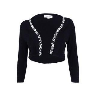 Calvin Klein Women's Petite Pearl-Trim Knit Shrug - Black