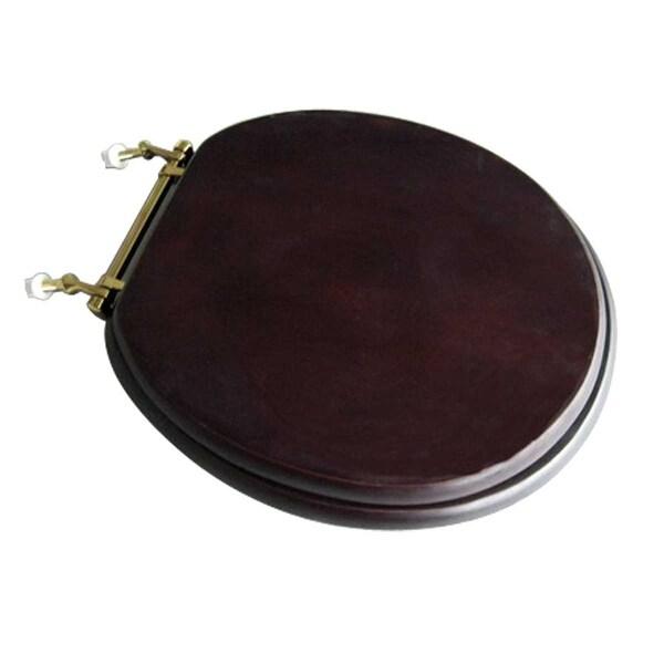 Toilet Seat Round Solid Wood Dark Oak Brass Hinge   Renovator's Supply