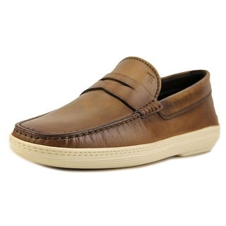 Tod's Mocassino Marlin Hyannisport Youth Moc Toe Leather Brown Loafer