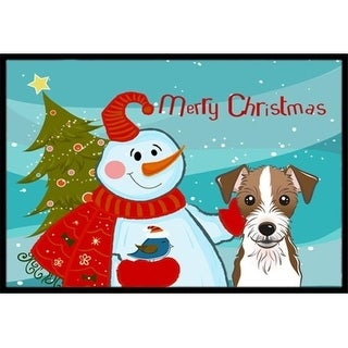 Carolines Treasures BB1822MAT Snowman With Jack Russell Terrier Indoor & Outdoor Mat 18 x 27 in.