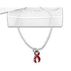 Heart Disease Awareness Red Ribbon Necklace