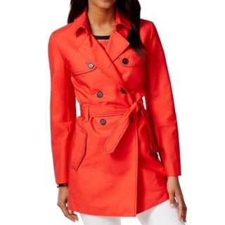 Tommy Hilfiger NEW Red Women's Size Small S Dana Stitched Trench Coat
