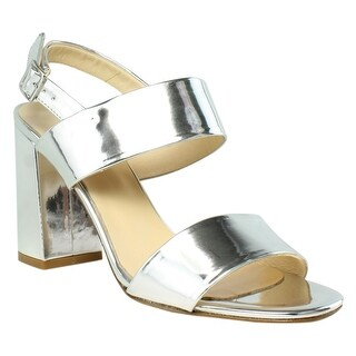 White Mountain Womens Mornasi0311-197 SilverMetallicLeather Sandals Size 9