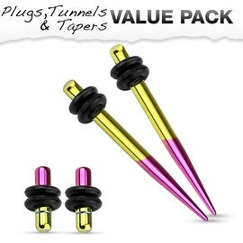 Yellow & Purple Titanium IP 316L Steel Plug & Taper with O-Ring Set Value Pack