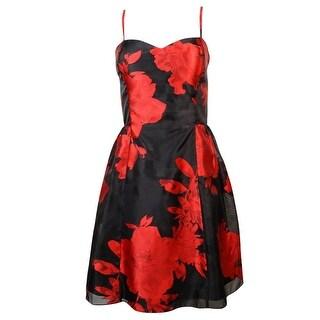 Jessica Simpson Women's Floral Print Sweetheart Flare Dress