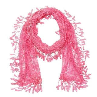 """Women's Sheer Lace Scarf With Fringe - hotpink - 70"""" x 11"""""""