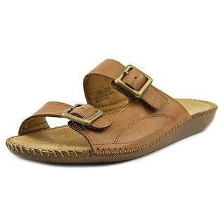 Auditions Spring Women  Open Toe Leather Brown Slides Sandal
