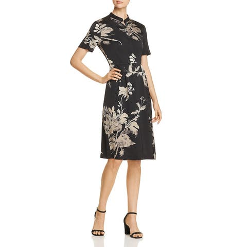 Donna Karan Satin Short Sleeve Floral Sheath Olive